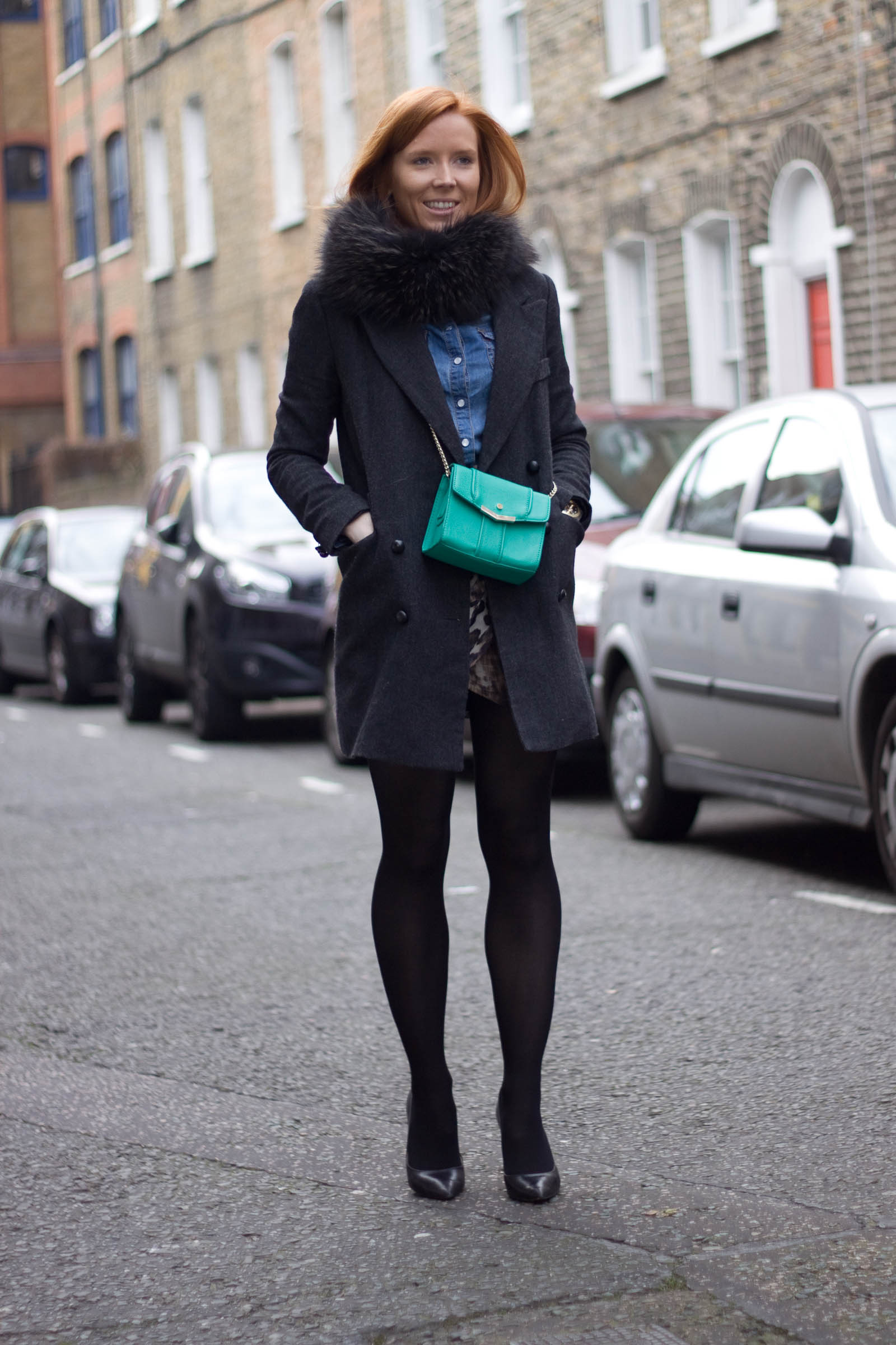 Asos Denim shirt - H&M leo skirt - YesStyle coat - Zara bag and heels - Gigue scarf