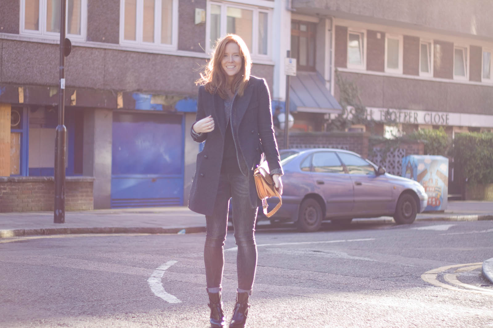 YesStyle coat, H&M jeans and blazer, Zara jumper and boots, Vintage bag