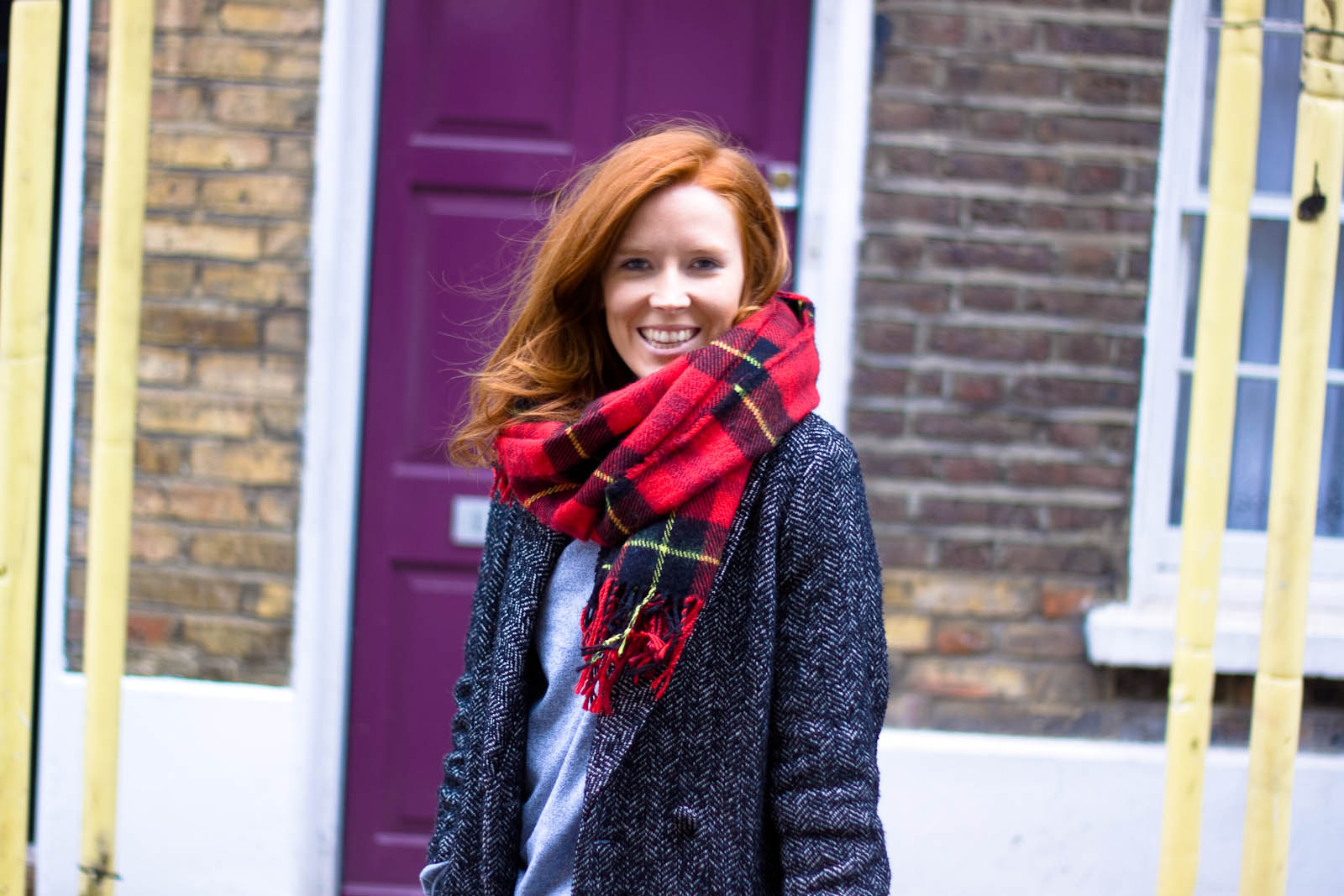 H&M scarf, coat and jeans, Asos boots and Chanel wallet