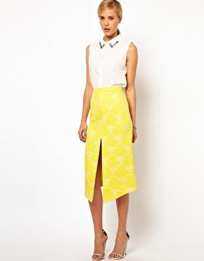 Rose Jacquard pencil skirt