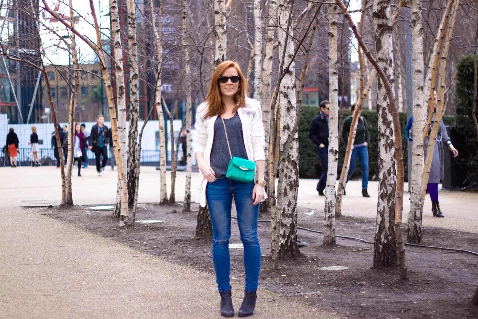 //WEARING//  Filles à Papa  cardigan, Zara tee and bag,  ASOS  jeans and  Sacha  boots