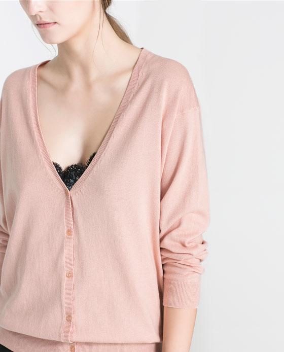 V neck zara dirty pink cardigan.jpg