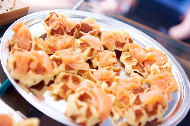 smoked salmon on waffles