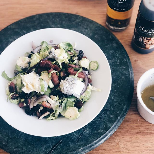 Summer salad of choice - Brussels sprouts, pancetta, dried cherries, cooked almonds, goats cheese and citrus/honey dressing  #food #foodie #foods #salad