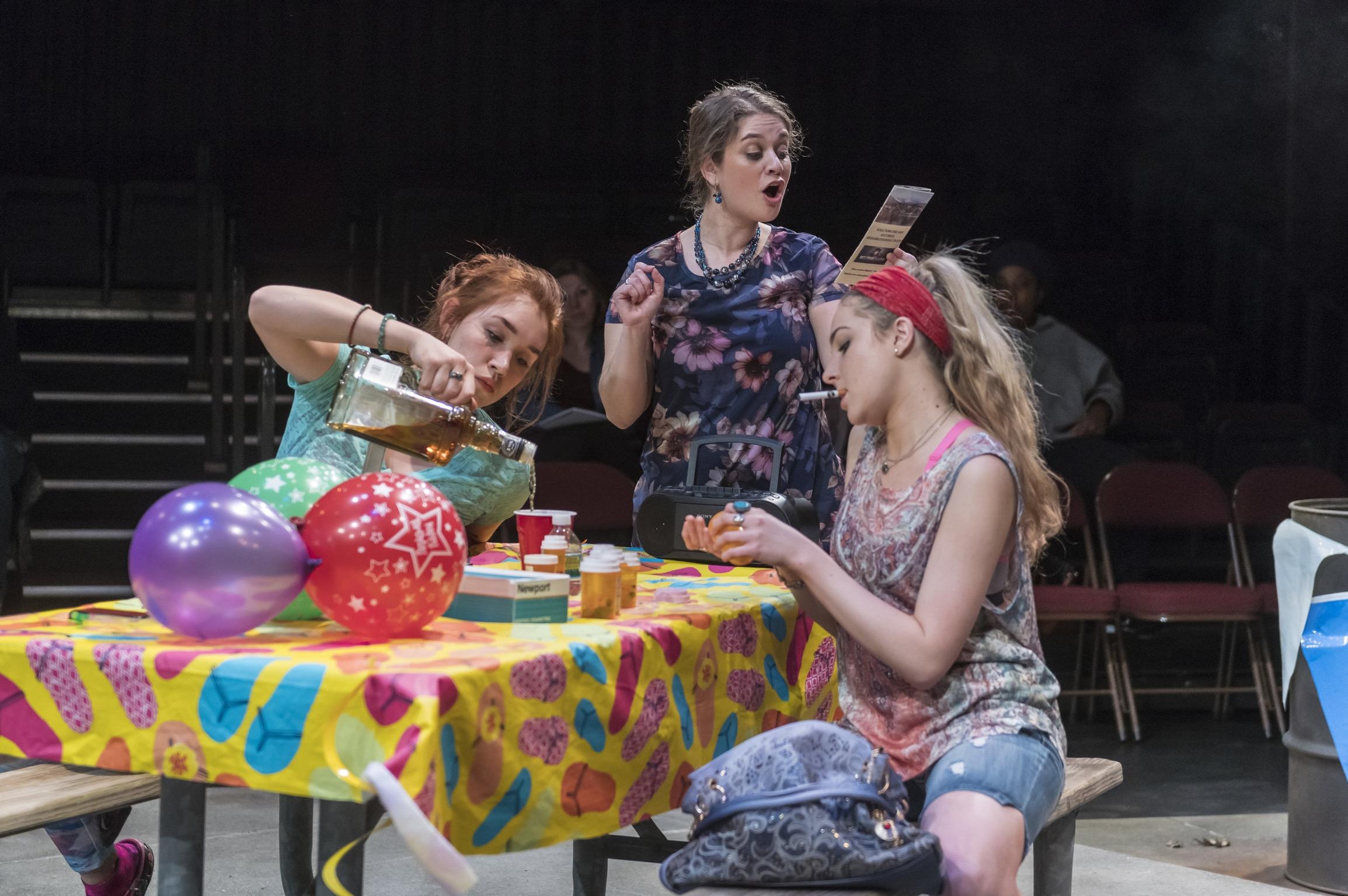 Marie (Diana Gardner), Lillie Anne (Elana Weiner-Kaplow), and Adlean (Kathleen Sullivan)