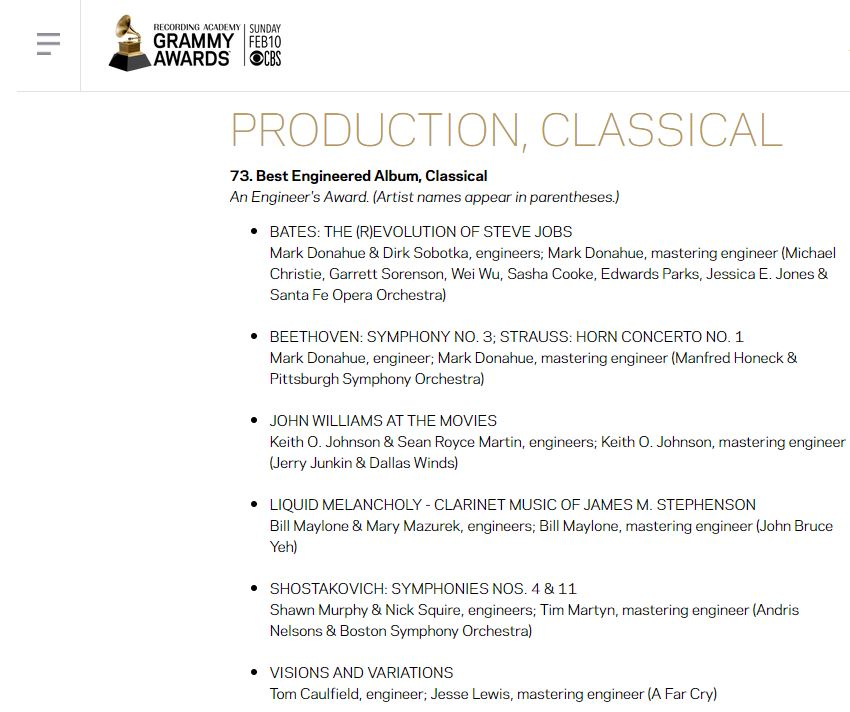 GRAMMY AWARD NOMINATION for Liquid Melancholy — Lake Forest