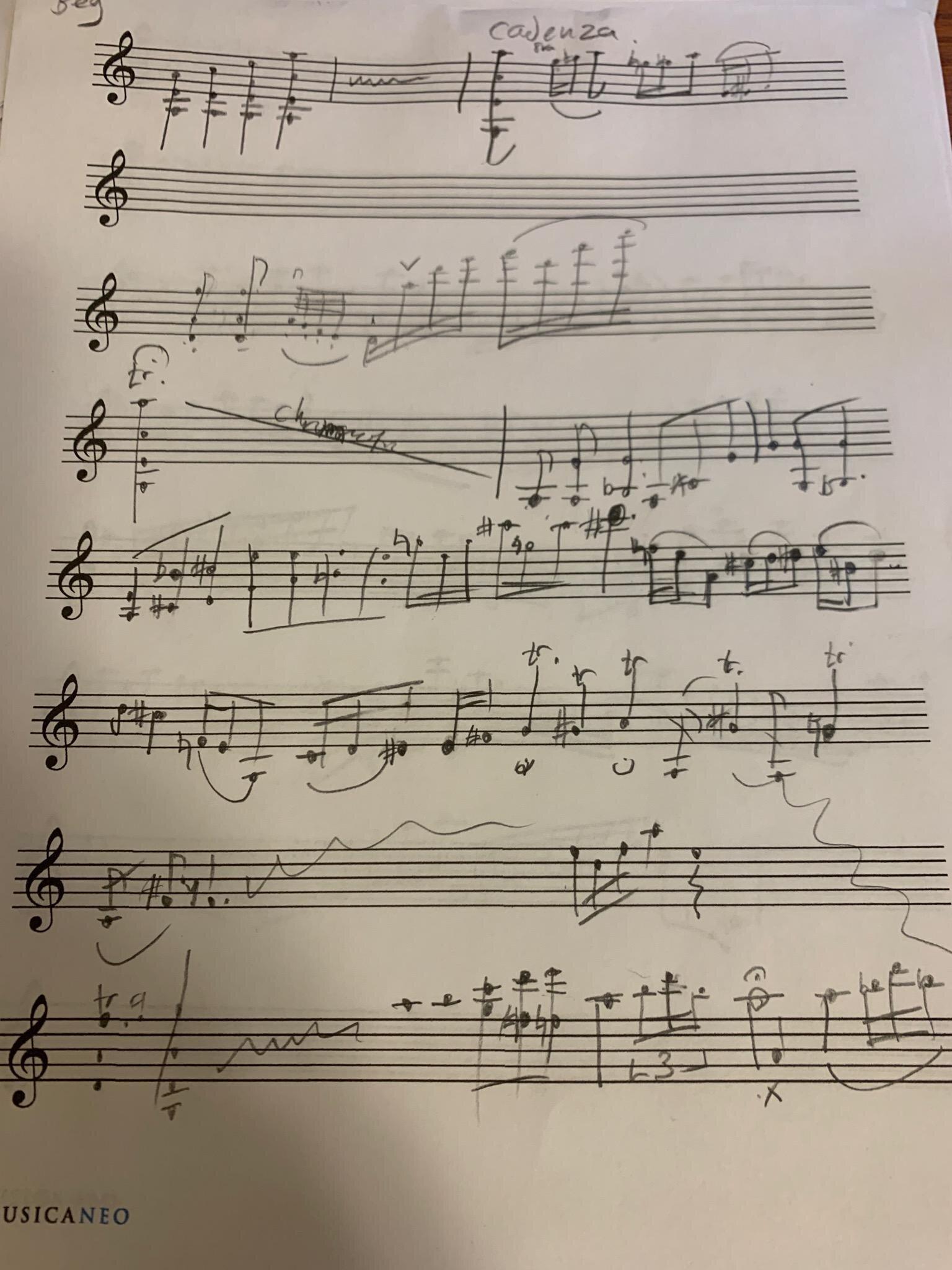 The cadenza manuscript