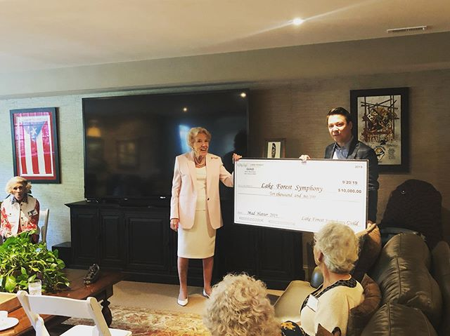 We were thrilled to accept a major gift of $10,000 from the Lake Forest Symphony Guild today at the first Guild Tea of the 2019-2020 Season! Thank you to our amazing Guild members for all they do.
