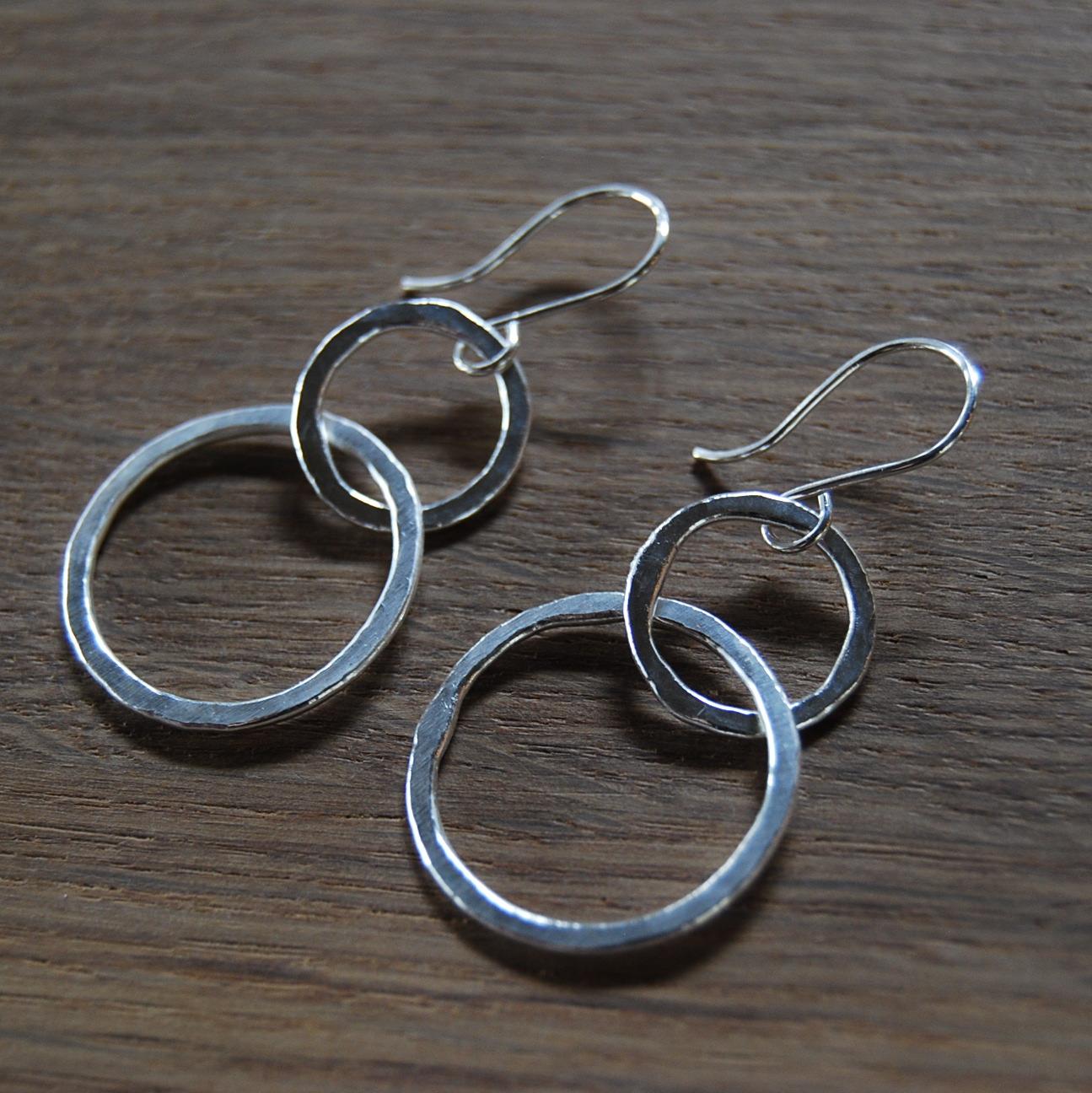 Fine Silver Fused Interlocking Rings Earrings (Sterling Silver Ear Wire)