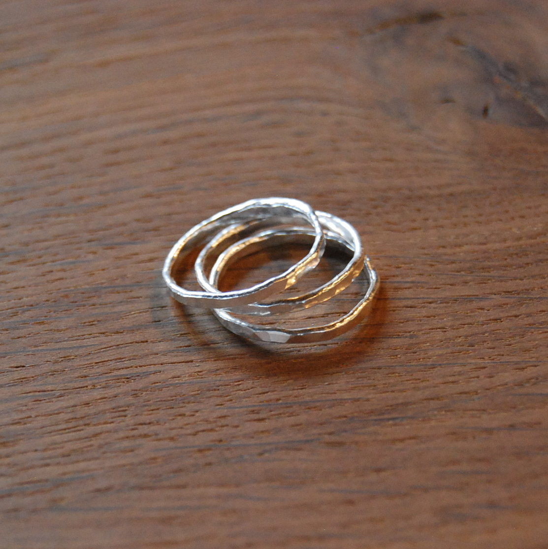 Hammered Stacking Rings :  3 rings are made of fine silver wire, fused, and hammered.
