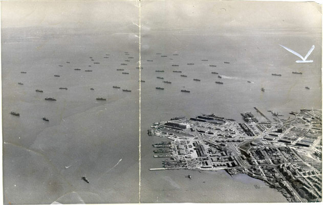 Aerial View of War Ship construction during war time. 1942