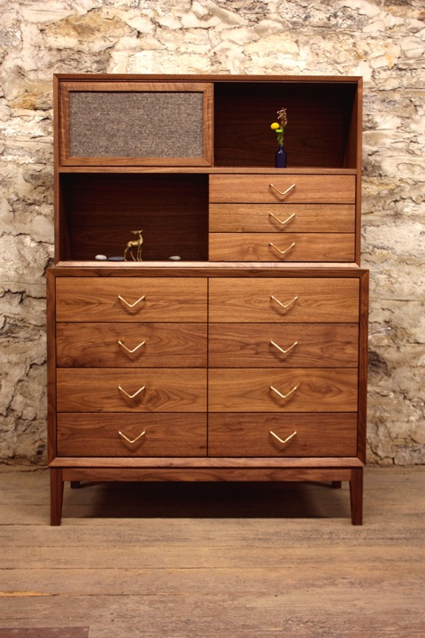 walnut dresser with hutch