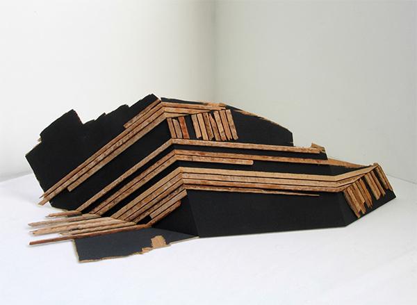 "'folded back' 12"" x 29"" x 9"" Salvaged wood, acrylic. 2008"