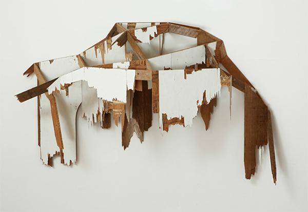 "'2 sided creeping' 23"" x 47"" x 13""Salvaged lath, plywood, acrylic. 2008"