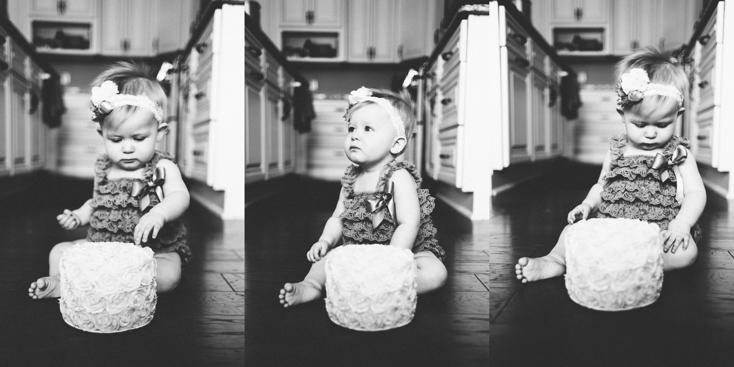 Michigan Family Photographer First Birthday Cakesmash Lifestyle Black and White Indoors (15).jpg