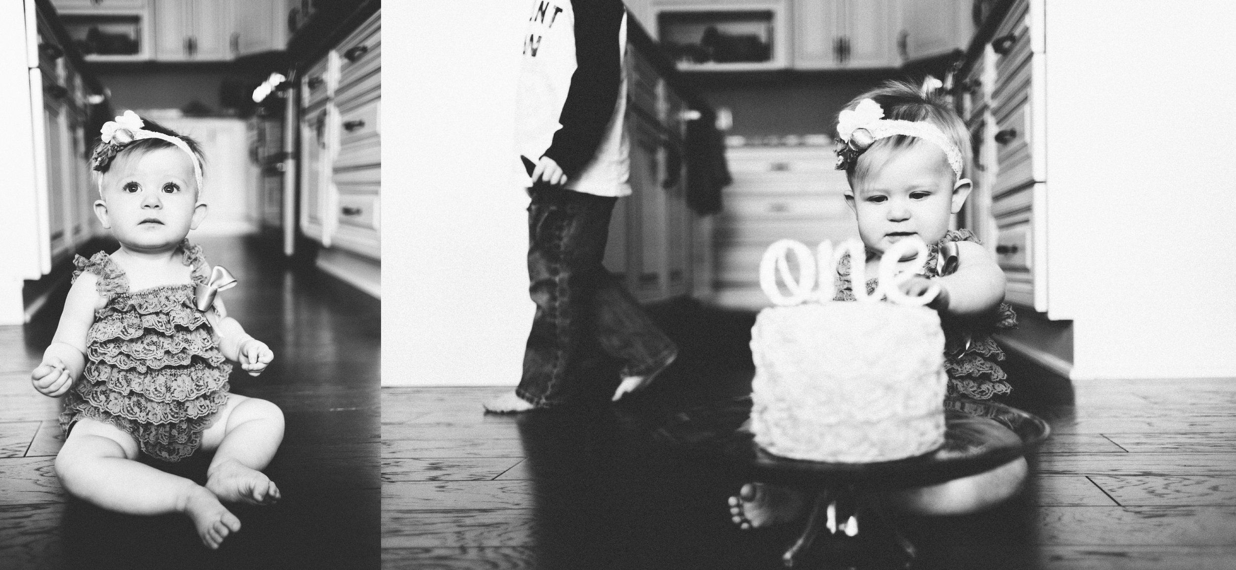 Michigan Family Photographer First Birthday Cakesmash Lifestyle Black and White Indoors (18).jpg