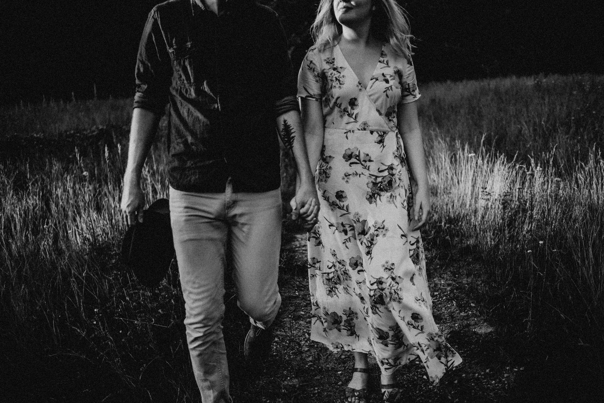Rochester Michigan Photographer black and white vintage dress cute couple outdoor golden hour (21).JPG
