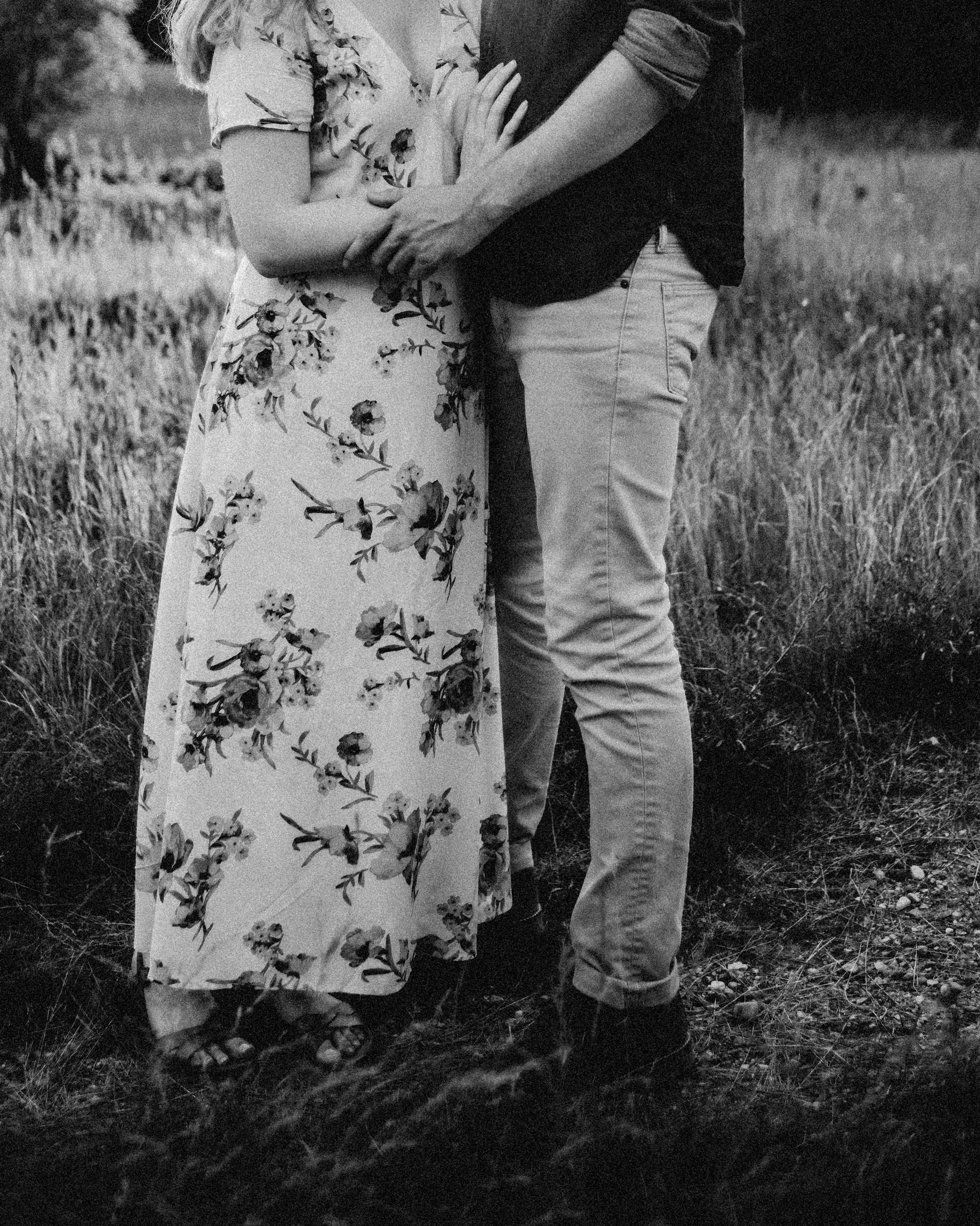 Rochester Michigan Photographer black and white vintage dress cute couple outdoor golden hour (20).JPG