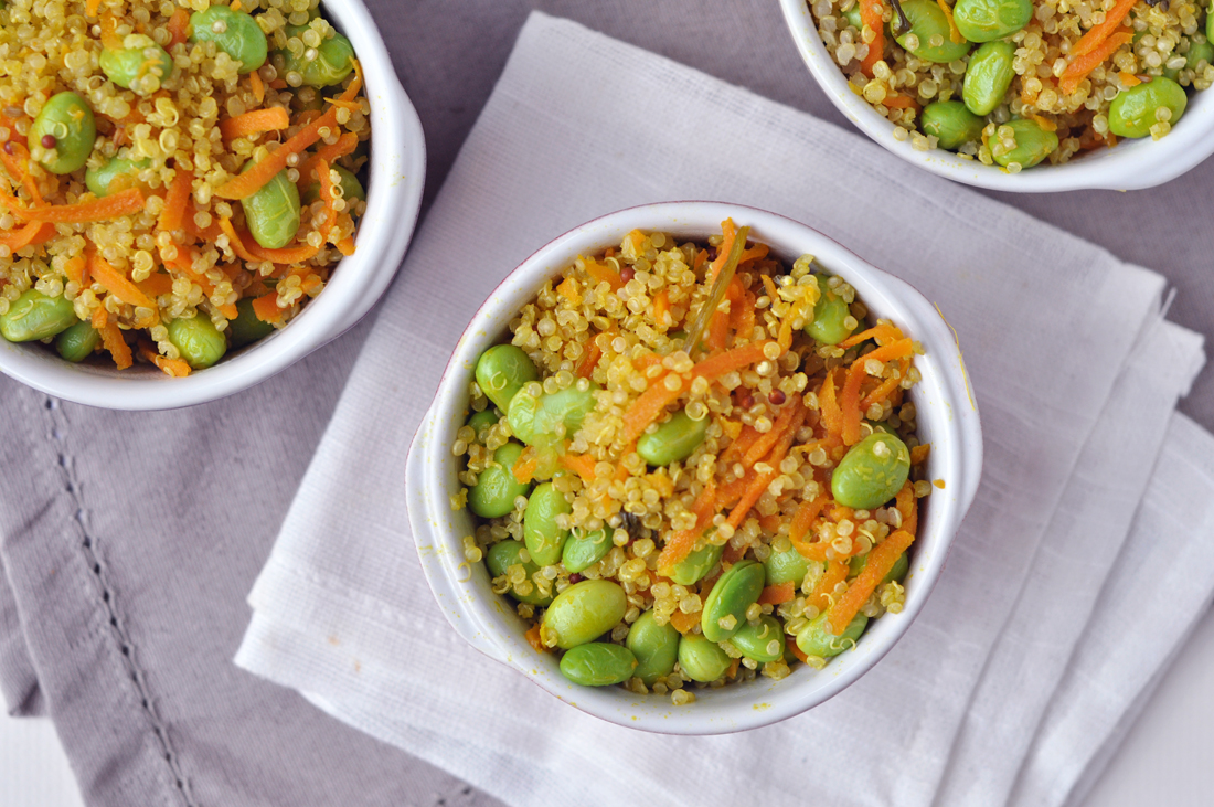 Simple mixed through plain quinoa and endamame