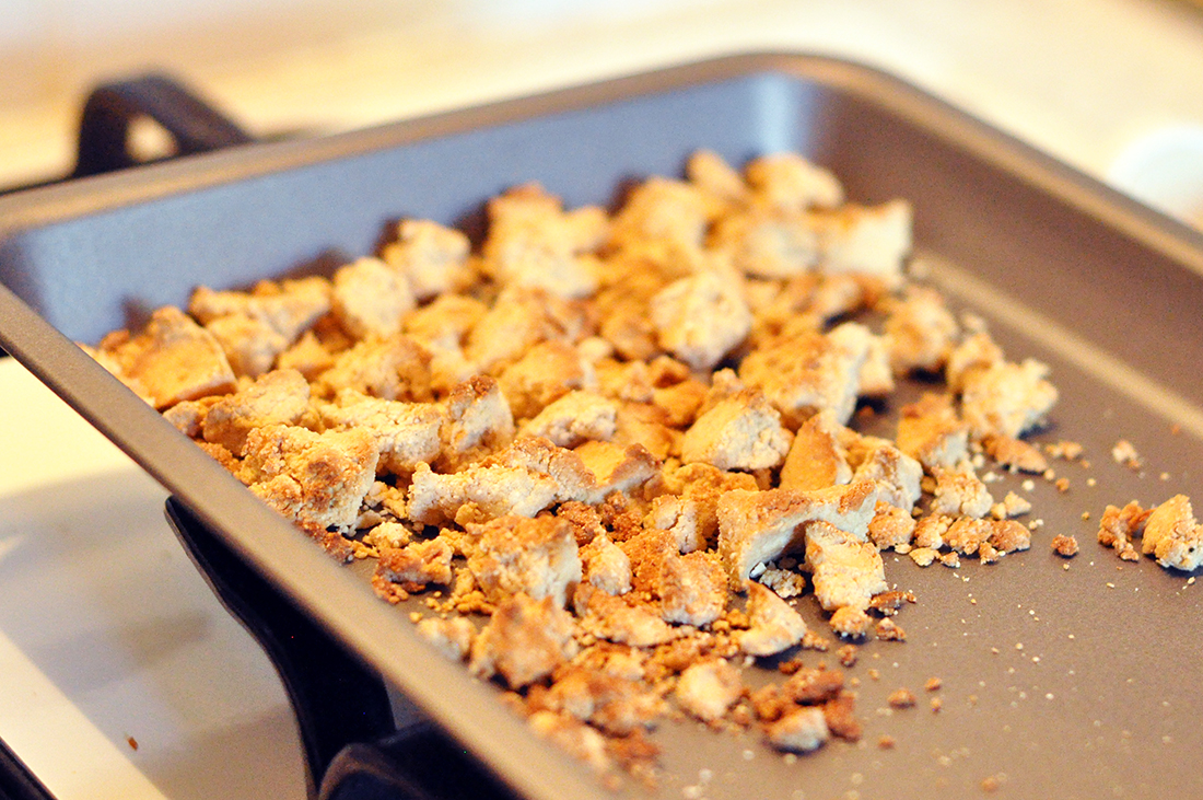 Toasted crumble goodness hot off the grill!