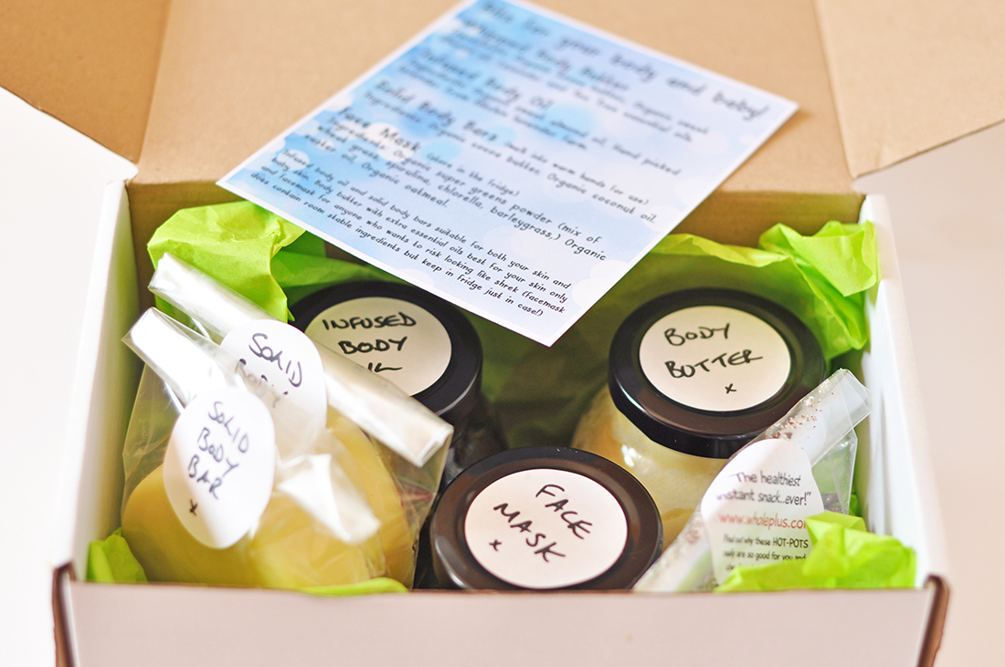A gift box of products made for a friend with a new baby.