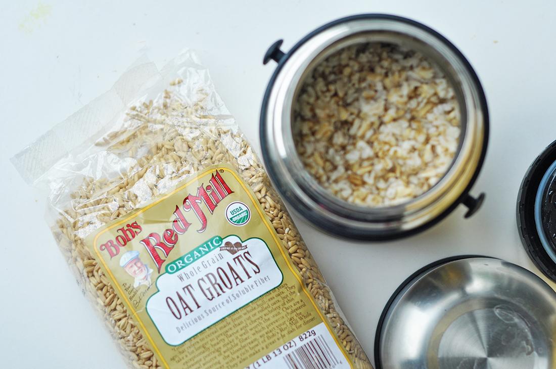Oat groats in the food flask