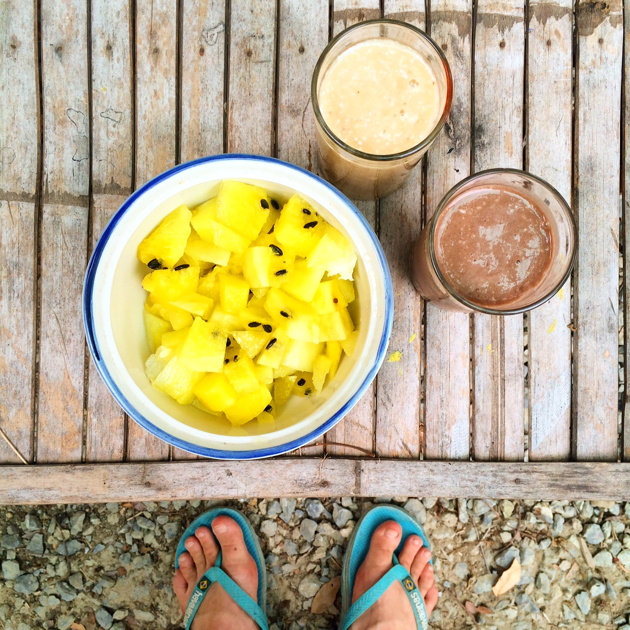 The only photo I took of the smoothies (alongside a yellow watermelon -  how cool?)