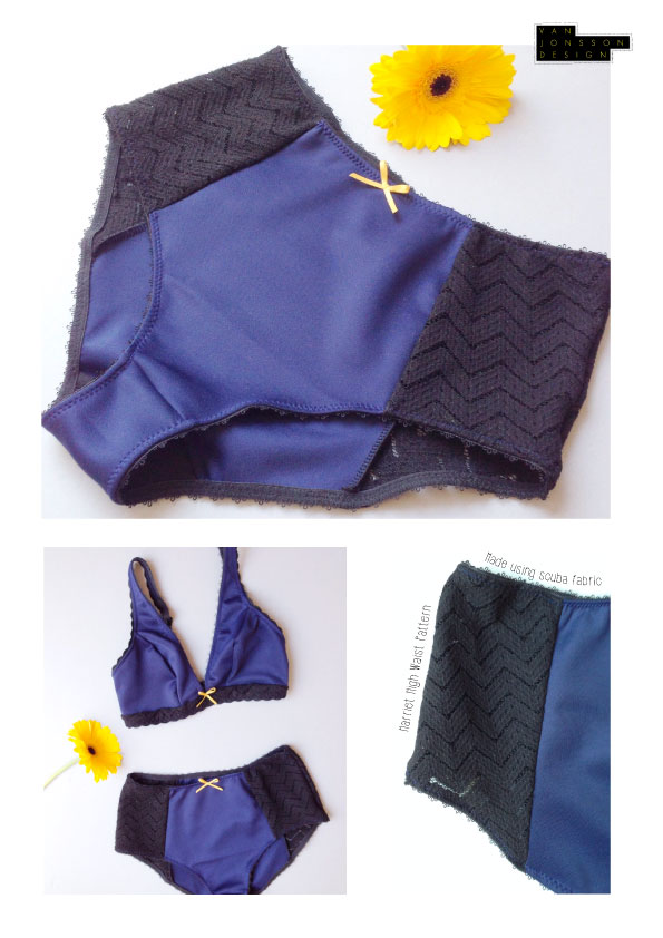 Lingerie patterns available sewn up in scuba fabric