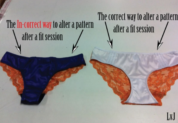 correct way to alter a lingerie pattern