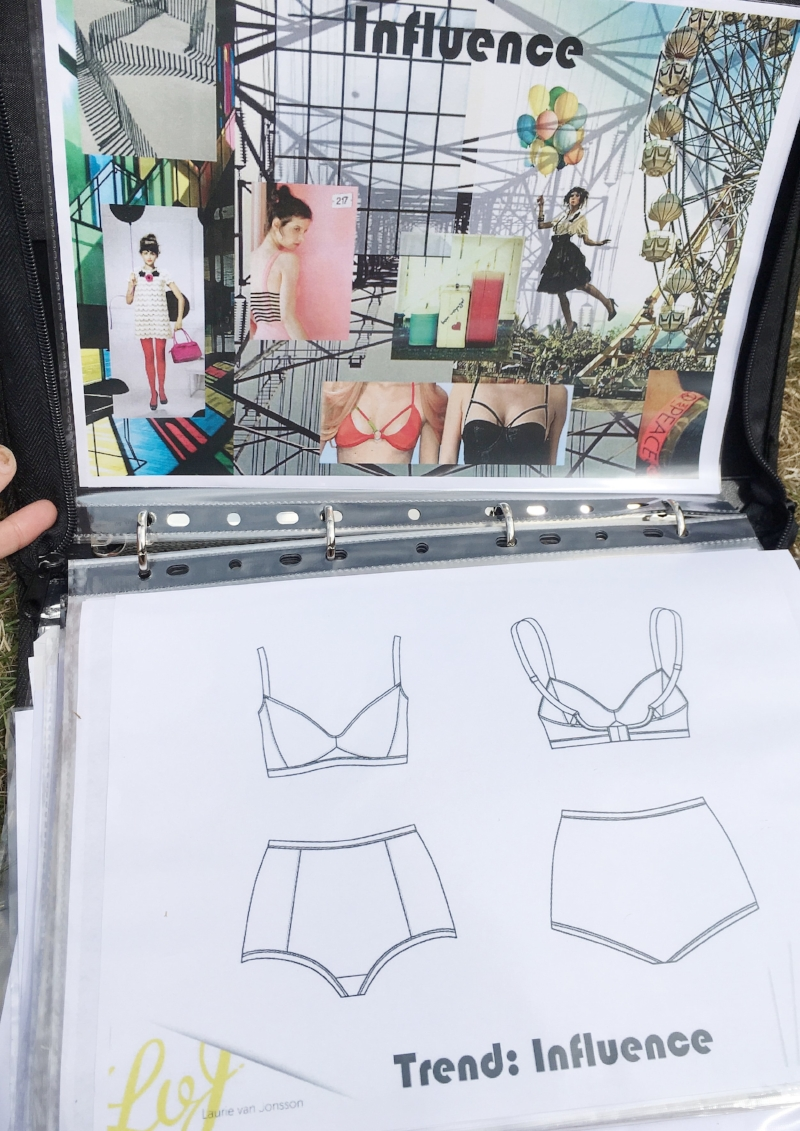 lingerie technical drawings for portfolio