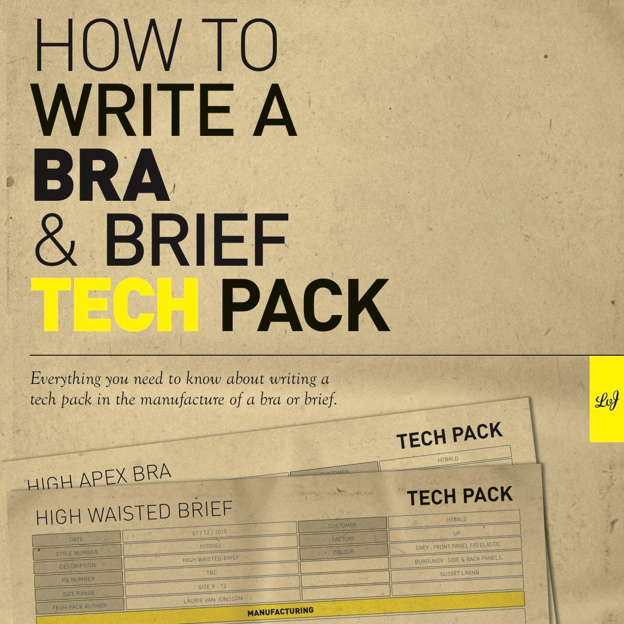 How to write a bra and brief tech pack