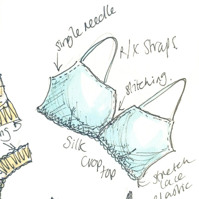 close up of lingerie sketch
