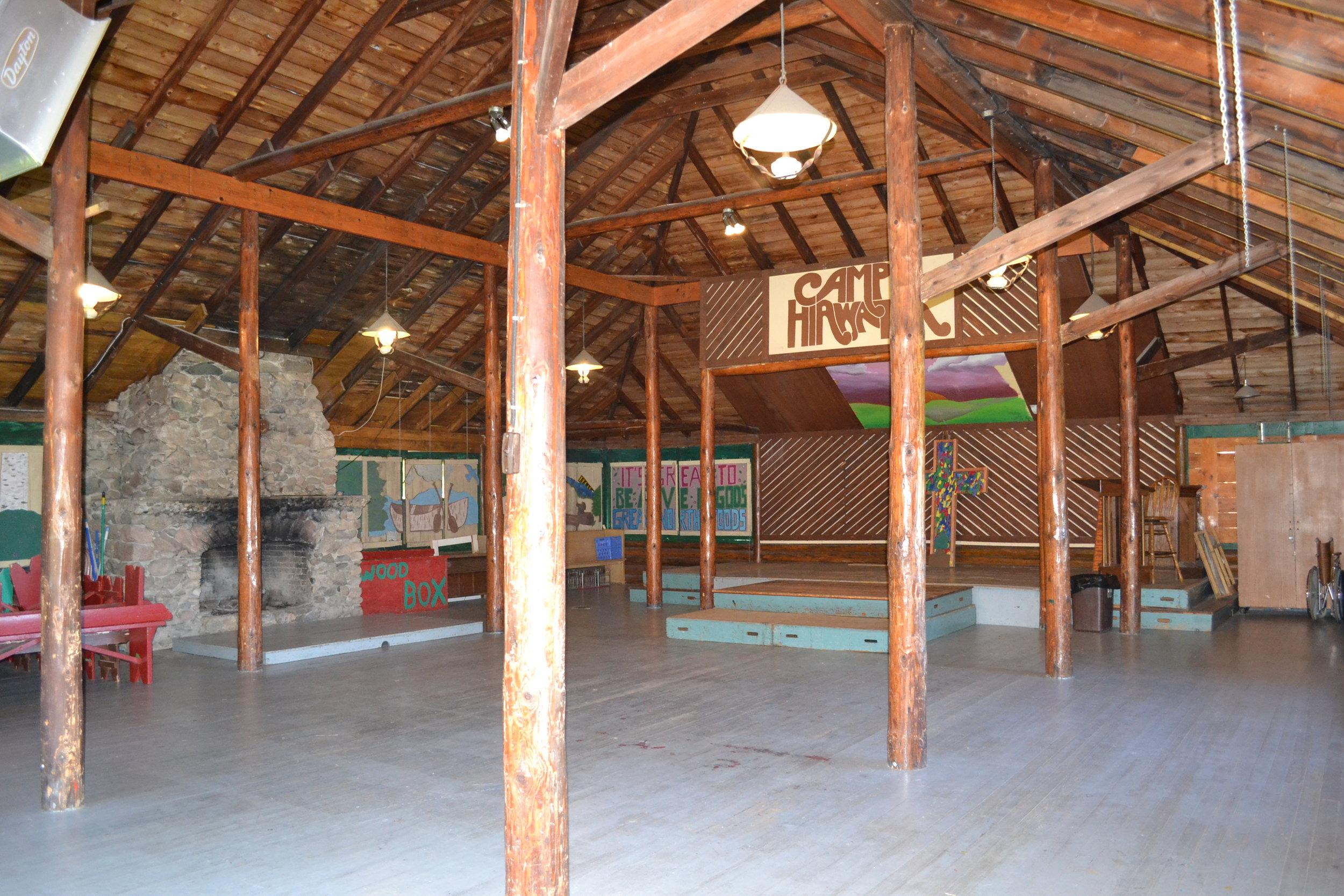 interior of log lodge