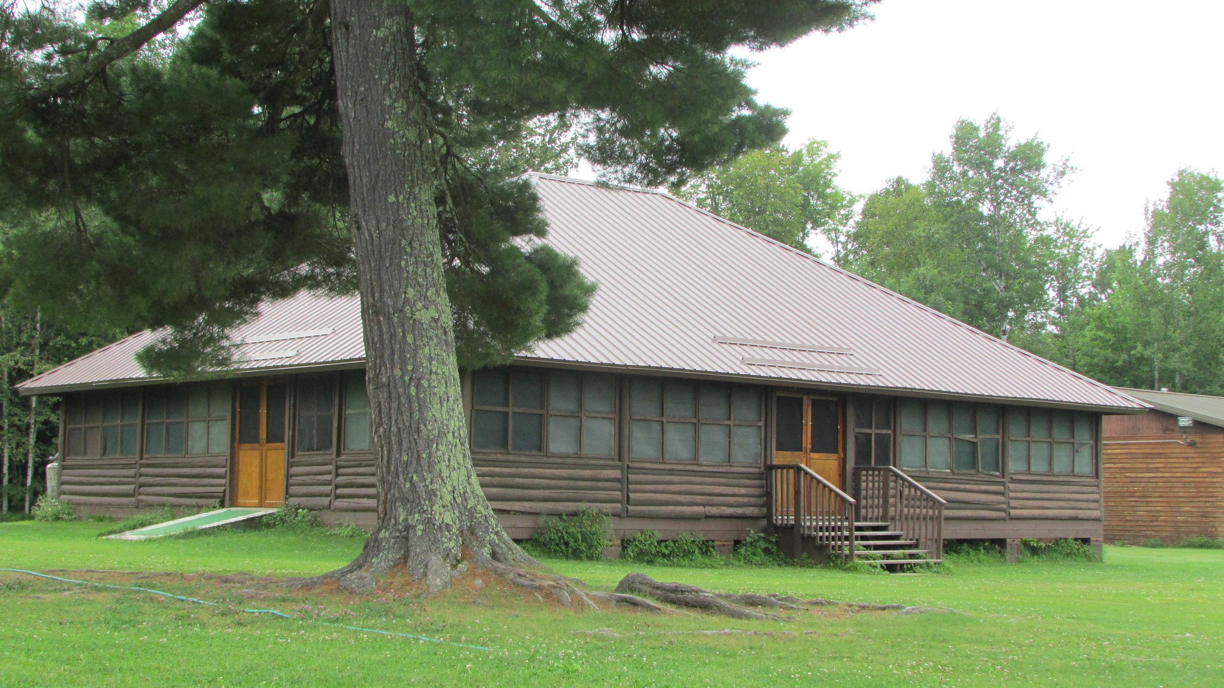 exterior of log lodge