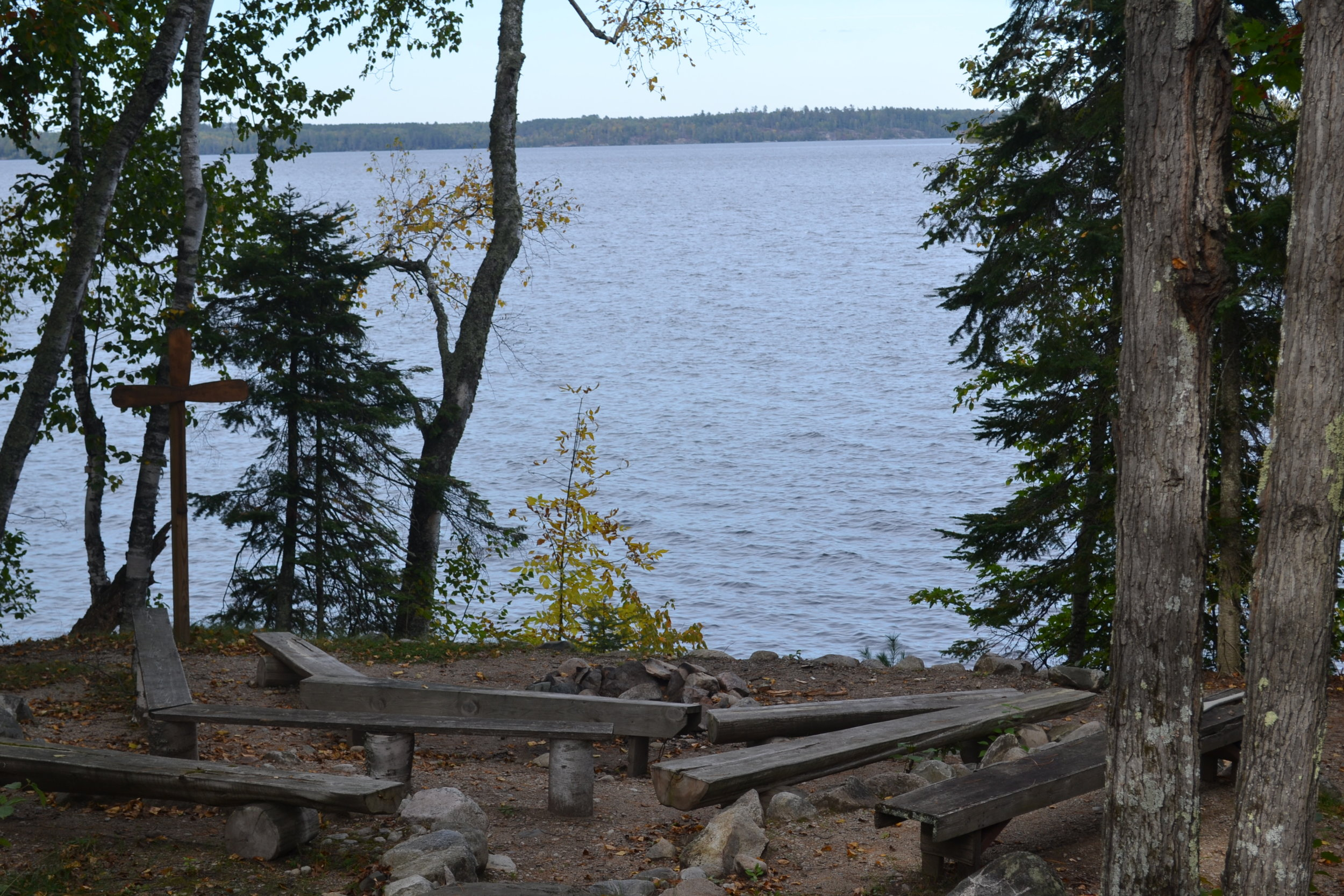 Campfire ring overlooking Lake Vermilion