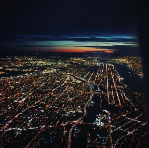 Nightfall in NYC from my holiday flight outta there.
