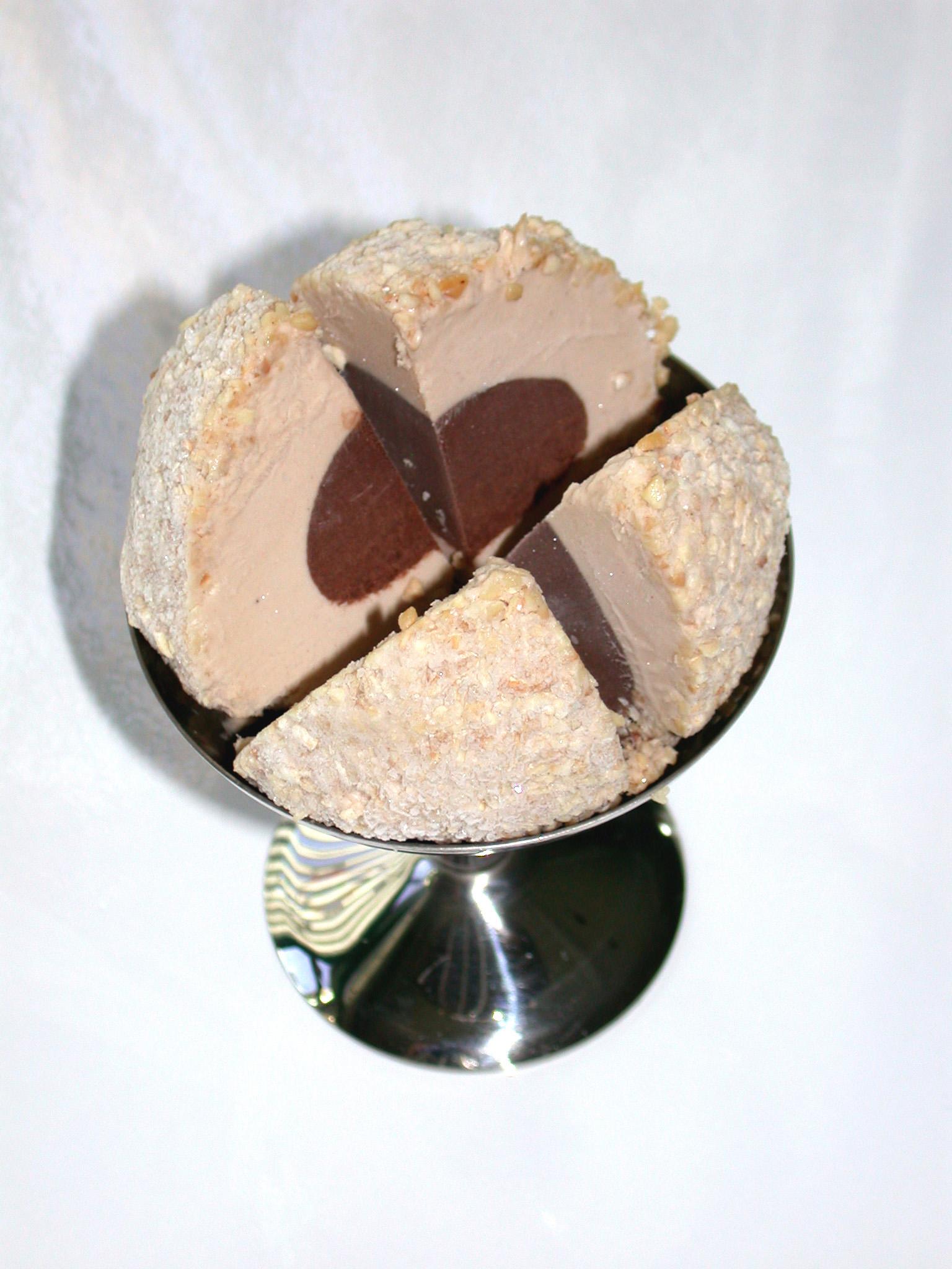 Chocolate Hazelnut:   Chocolate gelato centred in toasted in Hazelnut rolled in chopped toasted piedmonte hazelnuts.