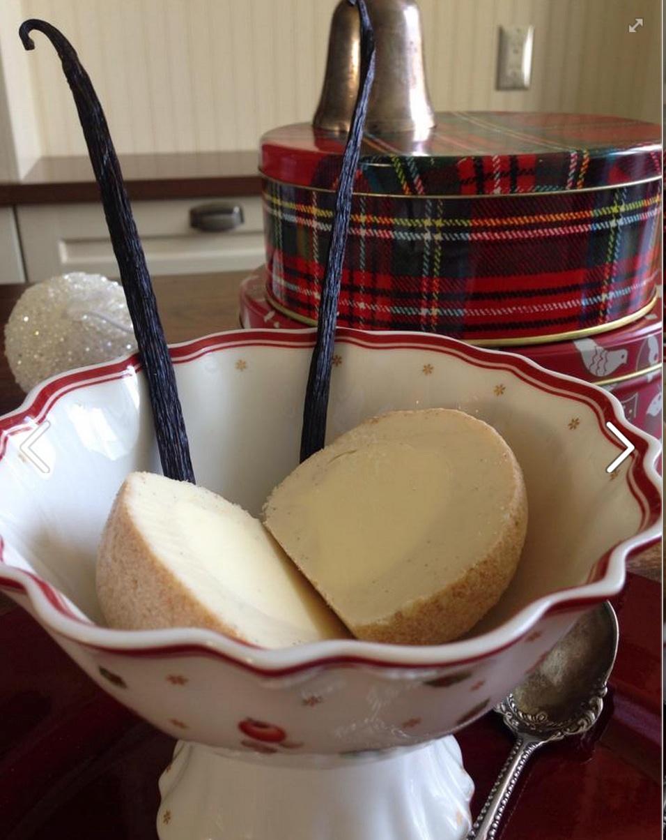 Tartufo EggNog with Rum centred in Tahitian Vanilla rolled in Shortbread Cookies