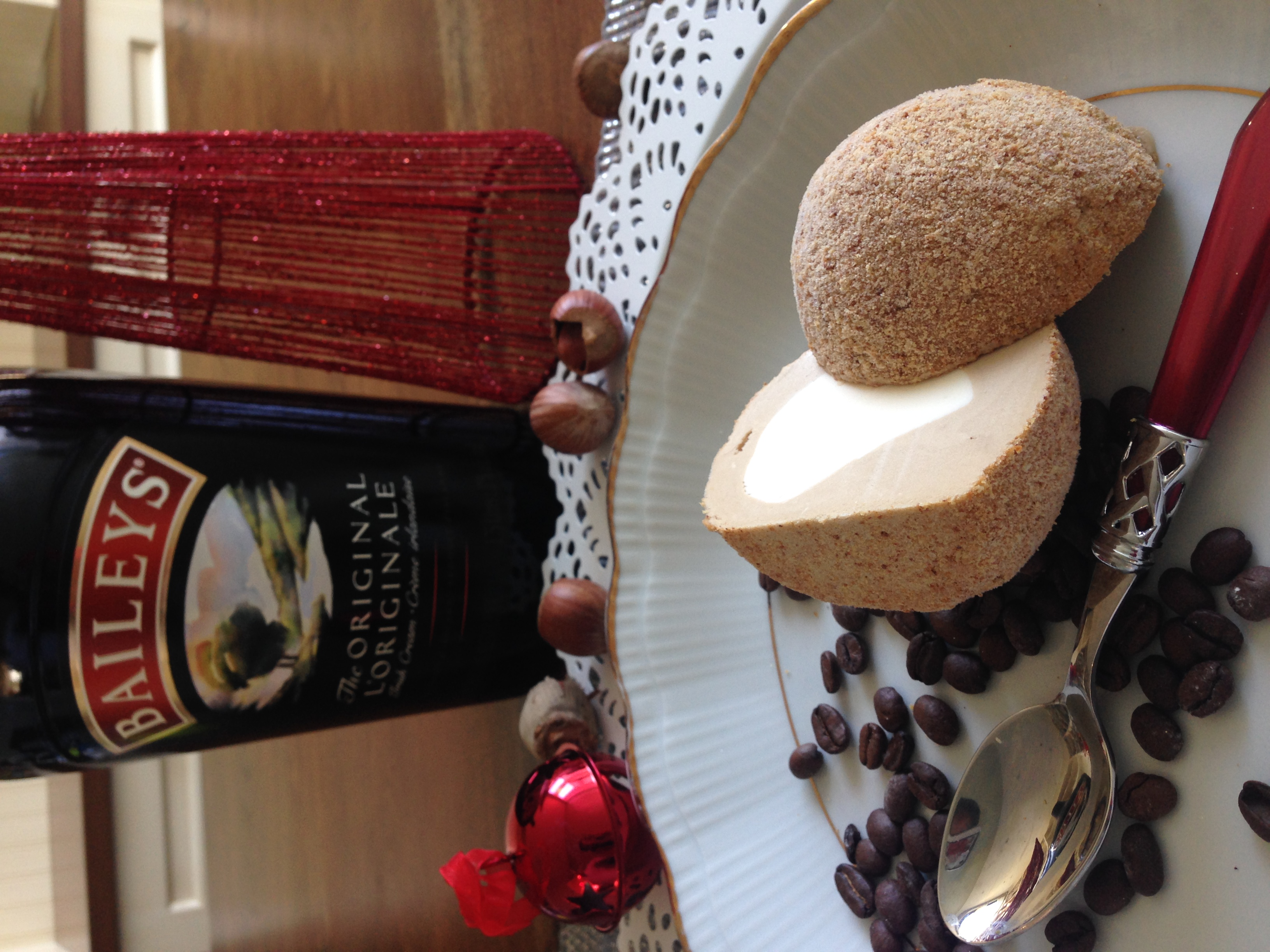 Tartufo Bailey's ice cream centred in Caffe Latte rolled in Almond Biscotti