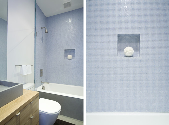 """""""Sailing into nautical week, we're reminded of how much we love serene marine blue baths. Here are ten from members of the  Remodelista Architect/Designer Directory .""""    """"A periwinkle bath with a tidy soap niche by  J. Weiss Design in San Francisco. For more from the architect, see  Steal This Look: J. Weiss Kitchen & Bar in SF .""""     Original Story 