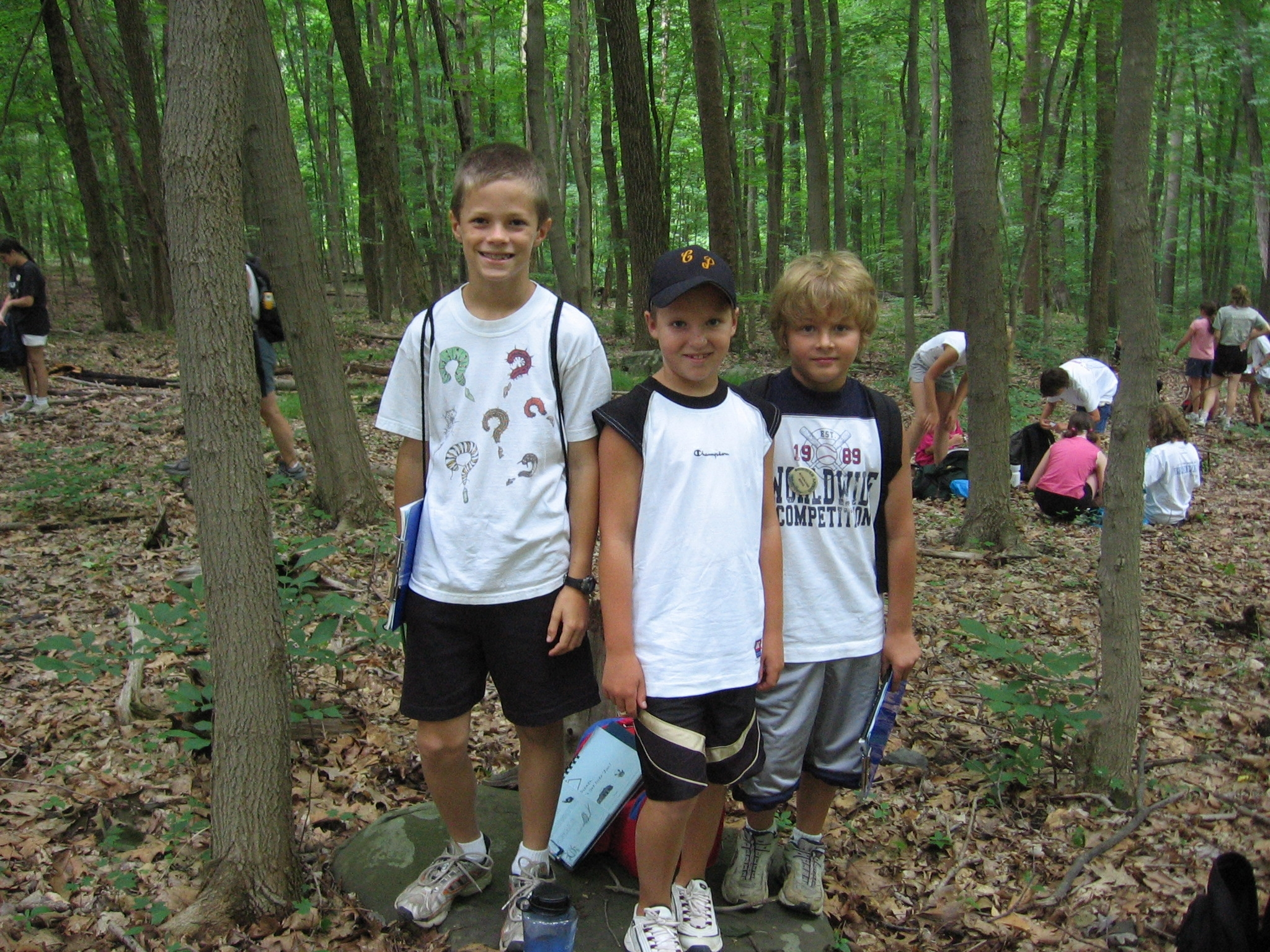 Boys taking Measurements in the Forest.JPG