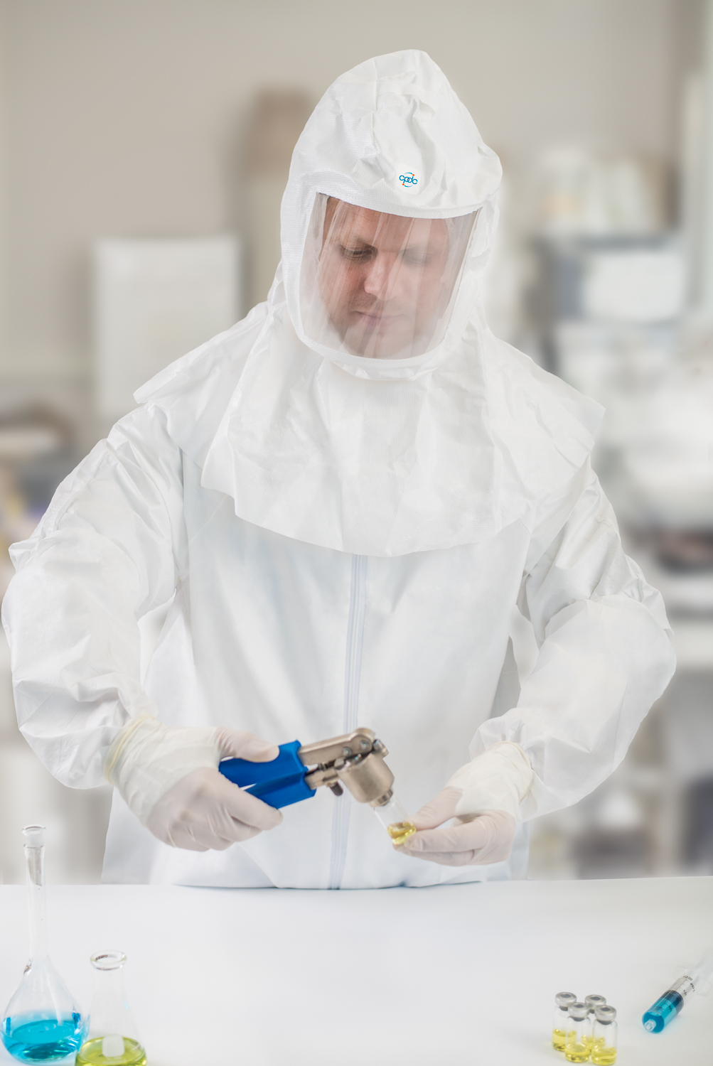 Hamilton Commercial Photographer - Laboratory Nuclear Medicine - Man in bio suit02.jpg