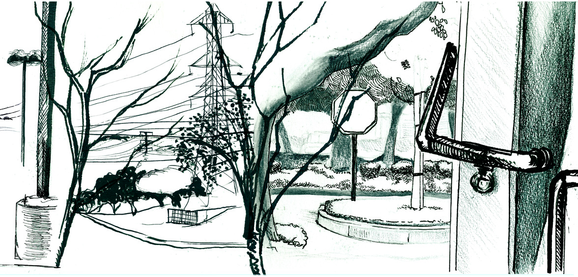 A Composite of observation drawings of parks and streets.