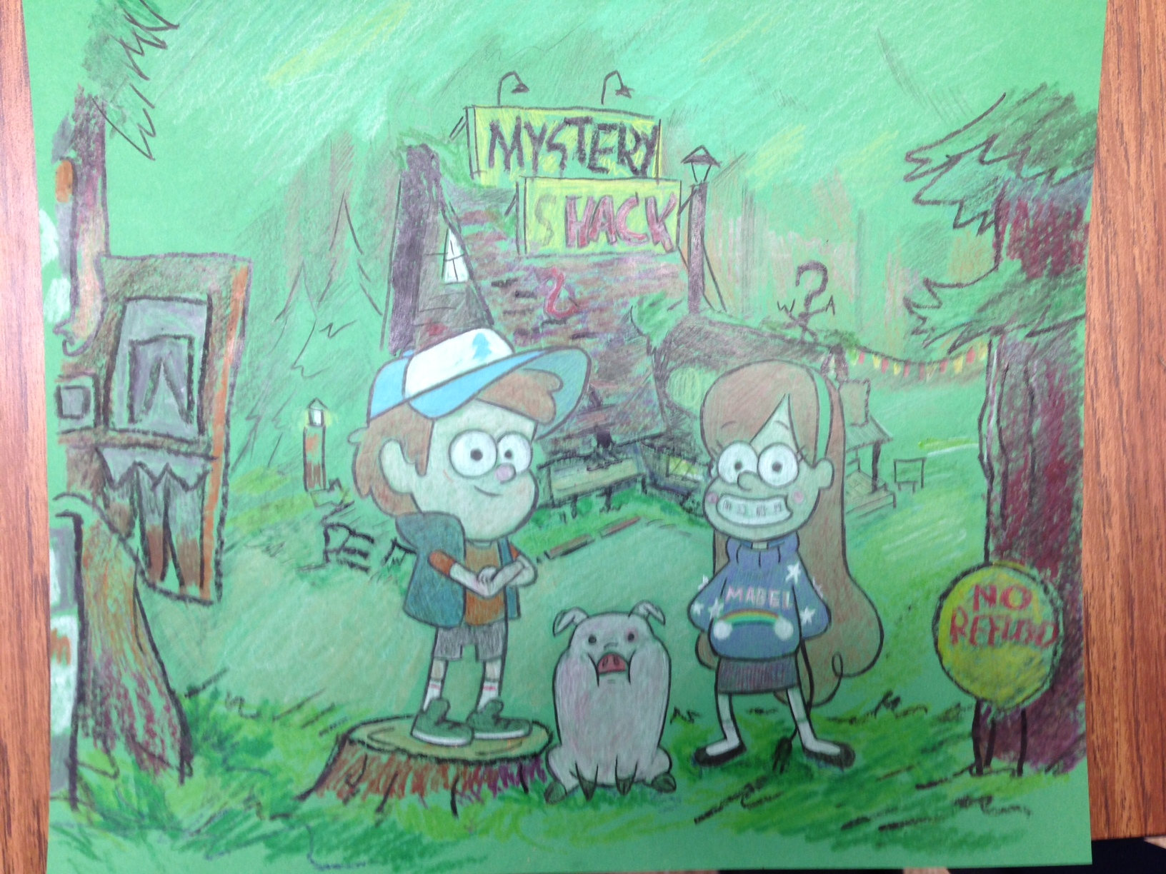 This was for a larger kid who did not want a crown. He instead wanted me to draw a picture of the characters from the clever, witty, funny and beautifully show   Gravity Falls   from the Disney channel.  For those who do not know,  Gravity Falls  revolves around the characters Dipper and Mabel Pines as they spend the summer visiting there misery great uncle (Gruncle) Stan, and explore the many mysteries, conspiracies, and bizarre antics of Gravity Falls Oregon.  Gravity Falls  is created by Alex Hirsch a former writer for the  Marvelous Misadventures of Flapjack .