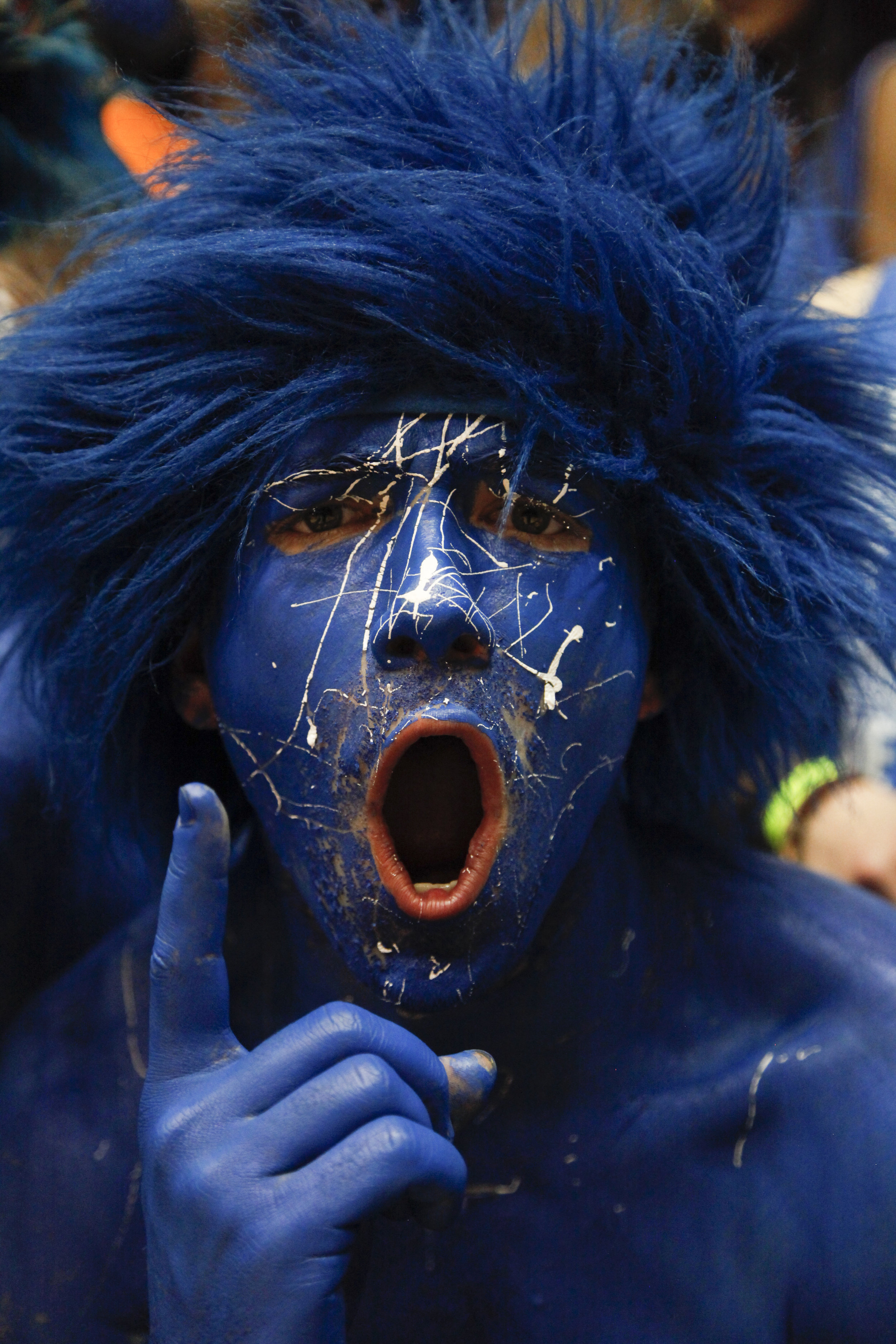 A  Cameron Crazy  gets pumped before the Duke vs. UNC game.