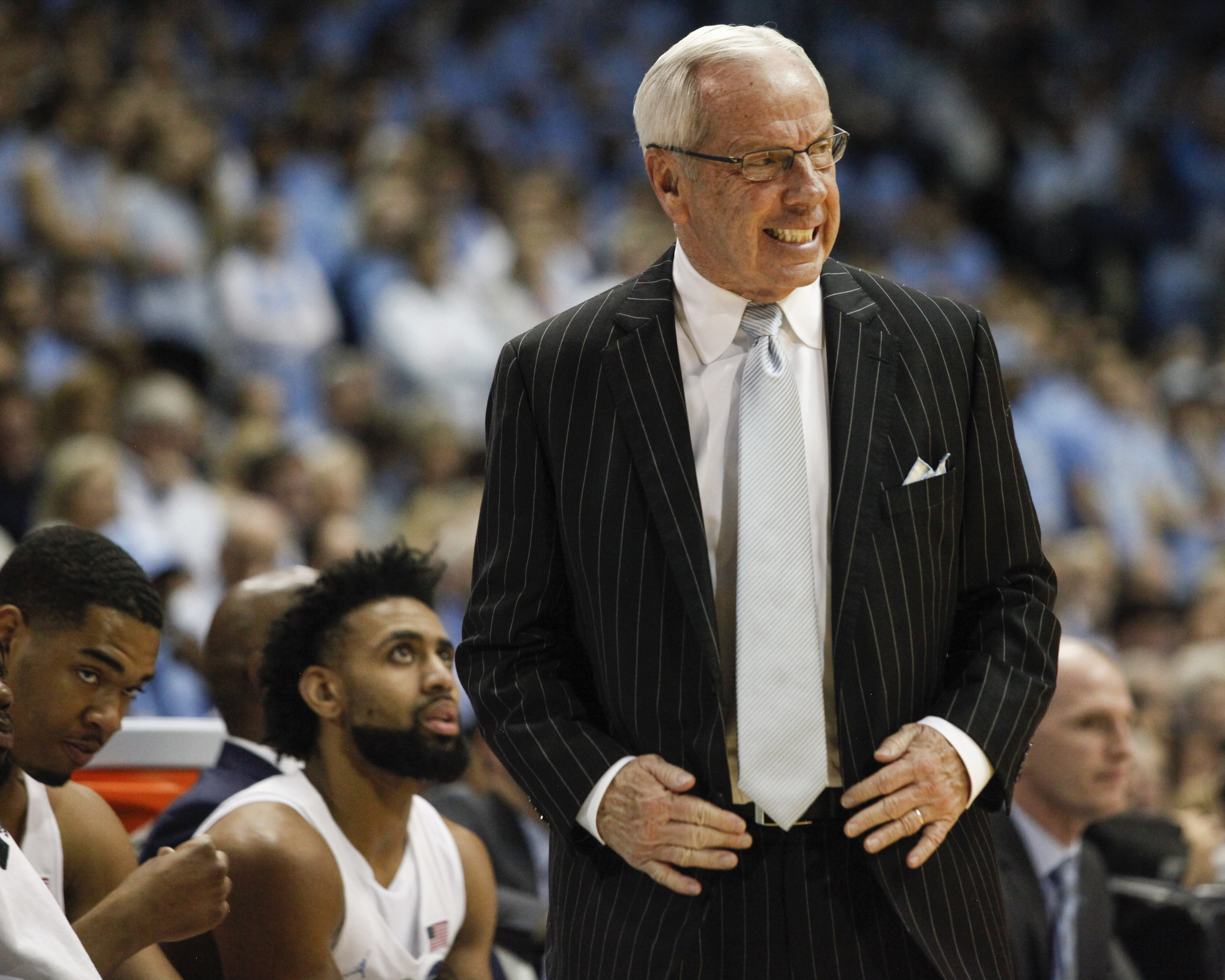 UNC head coach Roy Williams loses his cool during a game at the Dean Smith Center.