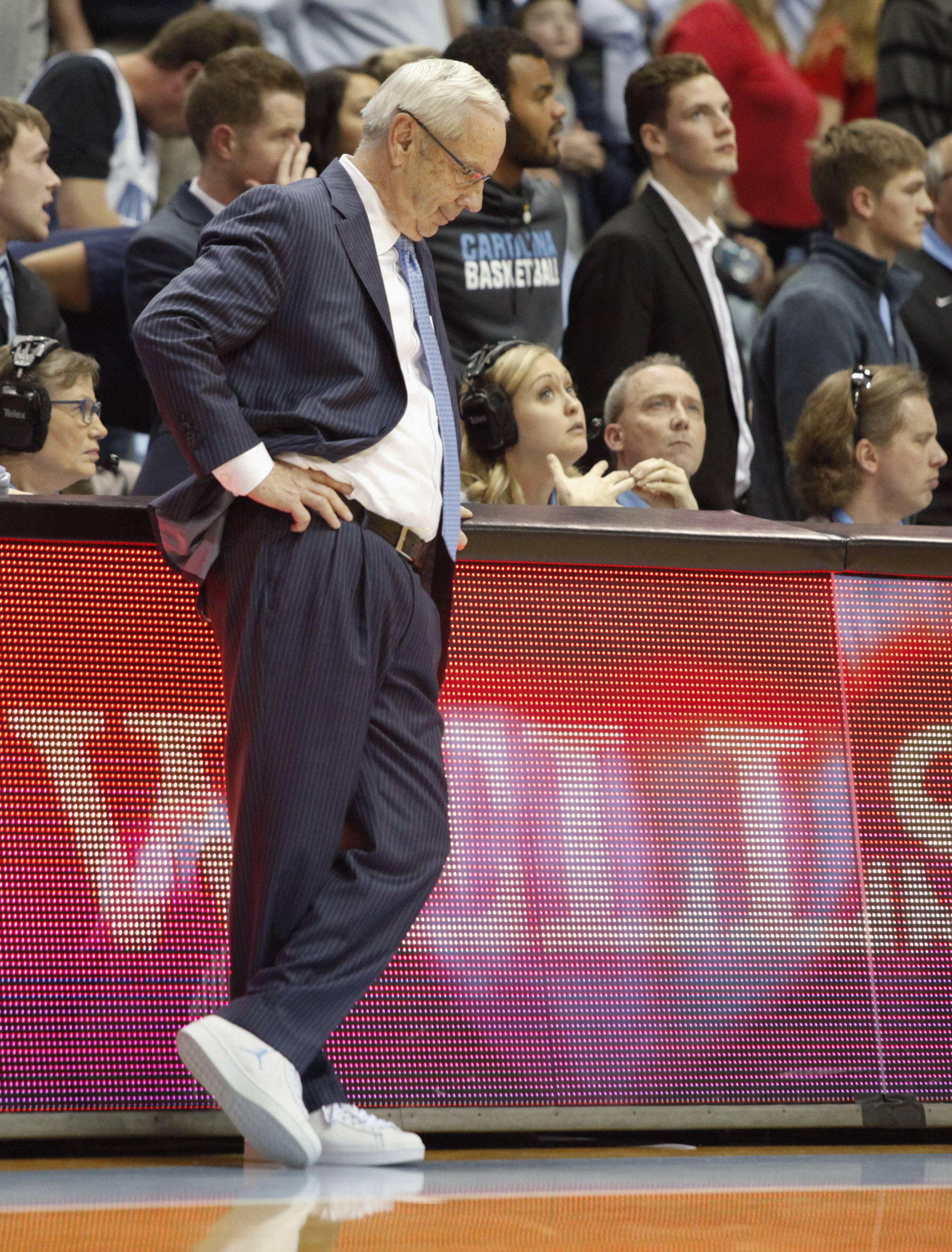 UNC head coach Roy Williams wears Jordan brand sneakers at the game against NC State during Coaches vs. Cancer week.
