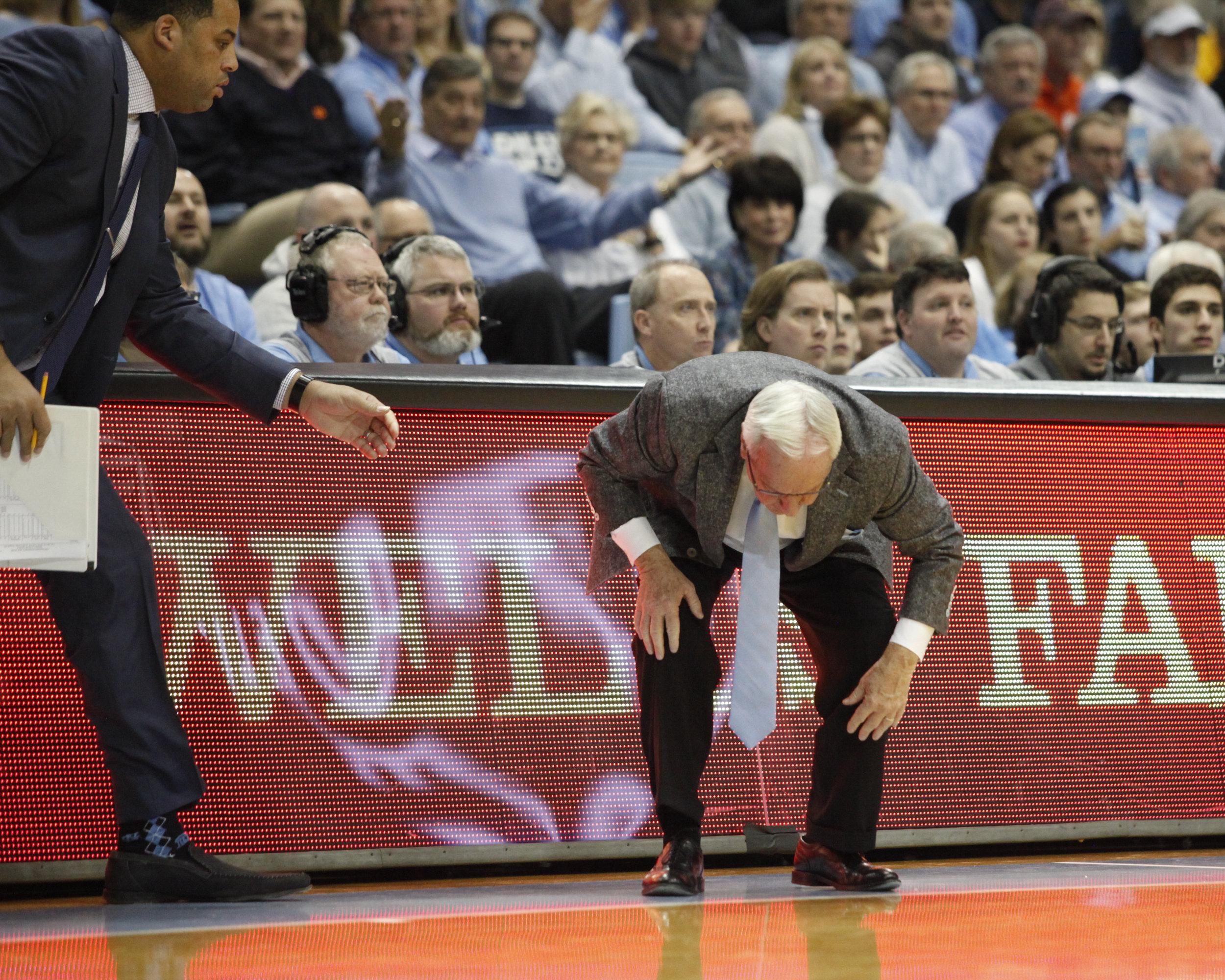 UNC head coach Roy Williams has a vertigo attack during a game at the Dean Smith Center.