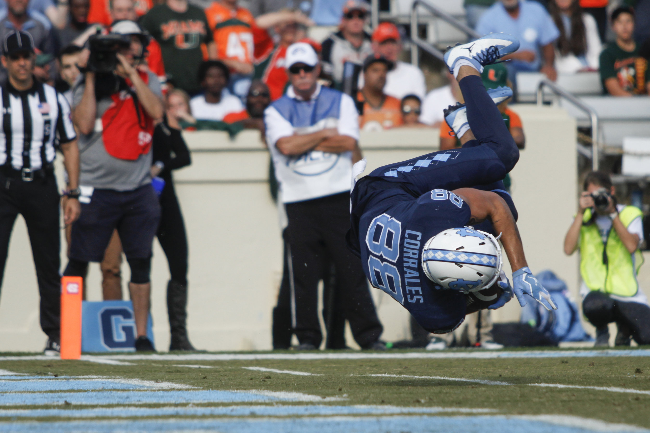 UNC wide receiver Beau Corrales spins into the endzone during the UNC vs. Miami game.