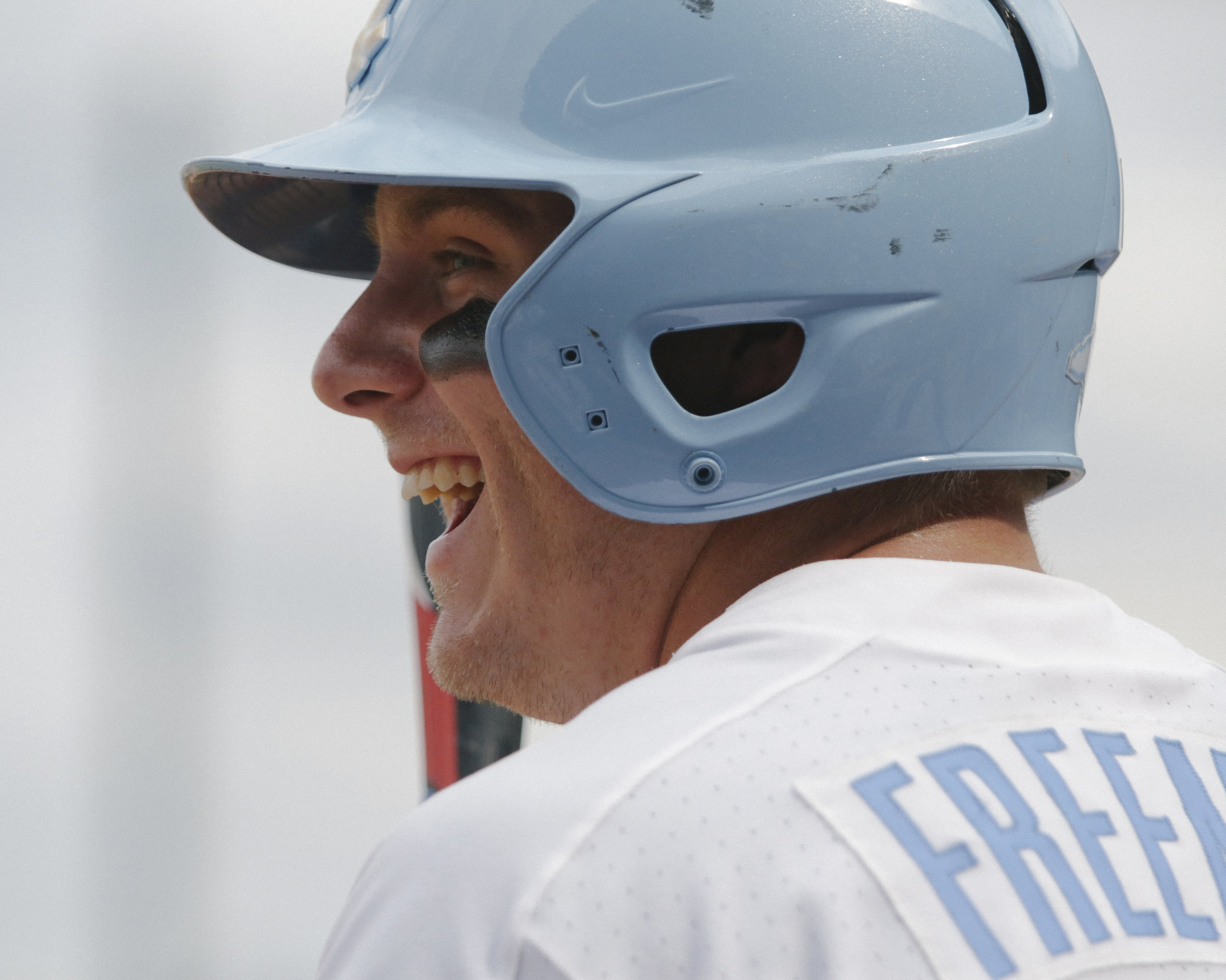UNC shortstop, Ike Freeman smiles while on deck during the ACC tournament game against Georgia Tech.